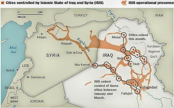 mapa atual do Estado islâmico do Iraque e da Síria